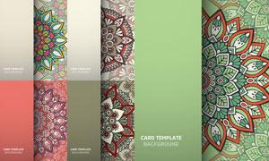 多彩配色的曼陀羅圖案設計矢量素材