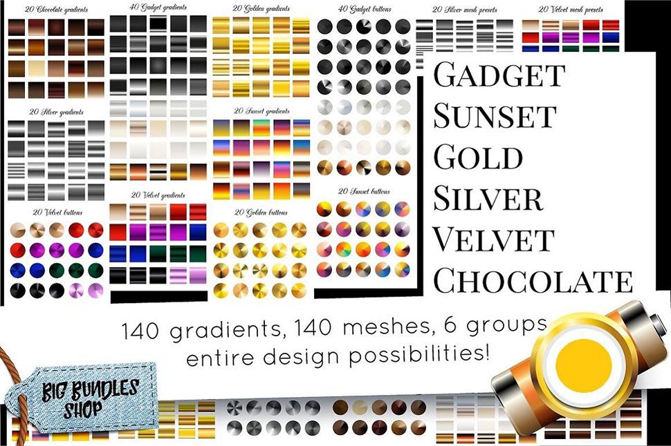 140款金色和银色金属质感AI渐变