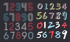 手绘涂鸦风格阿拉伯数字设计矢量素材
