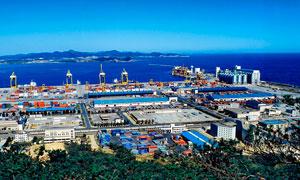 大连港码头全景高清摄影图片