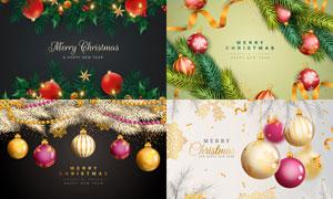 圣誕節質感掛球樹枝等主題矢量素材