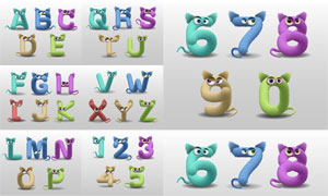 动物眼睛卡通创意英文字母矢量素材