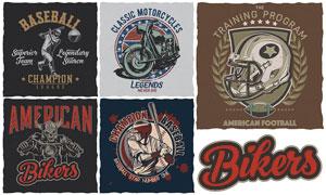 摩托车与棒球运动人物设计矢量素材
