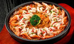 鐵板粉絲開邊蝦美食攝影圖片