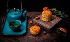 月餅盒茶壺特寫高清攝影圖片