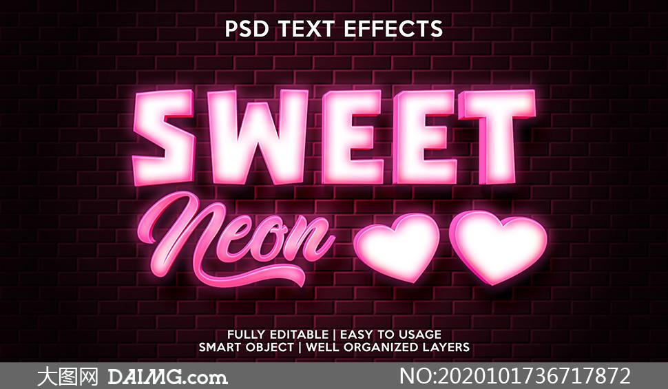 粉色字母与图案立体创意模板源文件
