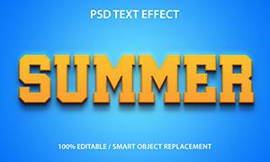 蓝色背景橙色立体字设计模板源文件