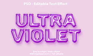 紫色充气样式气球字设计模板源文件