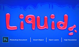 液态流体效果质感立体字模板源文件