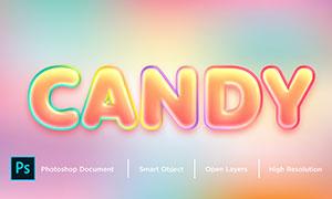 多彩描边样式糖果字效模板分层素材