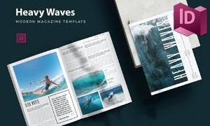 风光摄影杂志画册页面排版模板素材