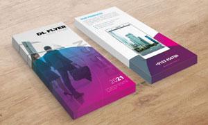 圆形元素紫色宣传单页模板矢量素材