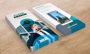 蓝色图形元素宣传单页模板设计素材