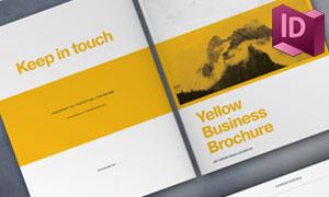黄色调的商务宣传画册模板矢量素材