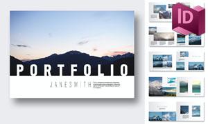 自然风光摄影画册版式设计矢量模板