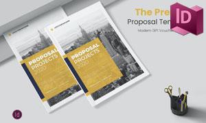 黄色调的项目提案画册设计模板素材