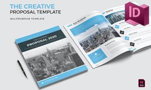 蓝色配色项目提案页面布局模板素材