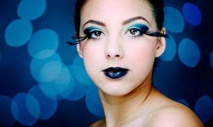 時尚的彩妝美女特寫高清攝影圖片