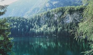 山下森林中的美丽湖泊摄影图片