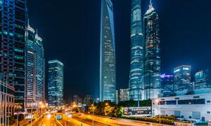 陆家嘴城市夜景和道路光影摄影图片