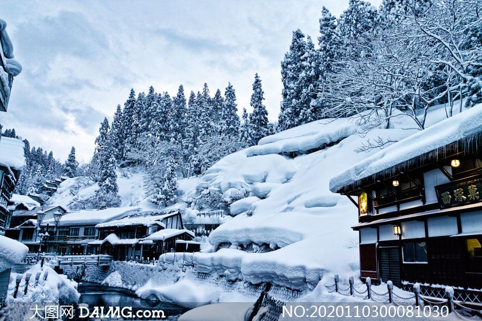 大雪过后的景区风光摄影图片