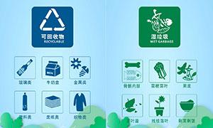 垃圾桶垃圾分类标识设计矢量素材