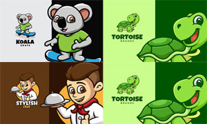 考拉熊与乌龟等卡通标志创意矢量图