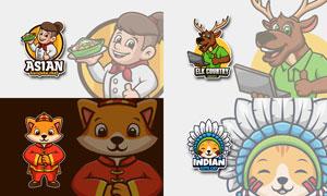 厨师与狐狸等卡通创意标志设计素材