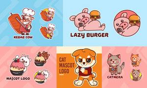 猫咪与小猪等可爱标志设计矢量素材