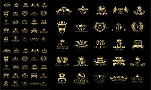 贵宾俱乐部等金色复古标志矢量素材