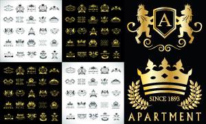 黑白与金色的欧式风格标志矢量素材