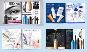 睫毛膏与护肤品等杂志主题矢量素材