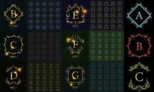 不同花纹边框装饰的字母创意矢量图