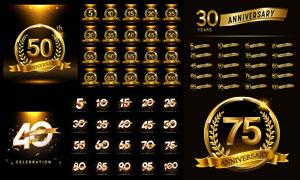 星光装饰的周年庆标志设计矢量素材