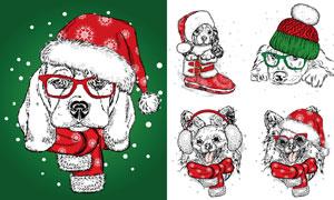 戴着圣诞帽的狗狗素描创意矢量素材