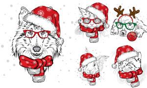 红色圣诞装扮猫狗等手绘创意矢量图