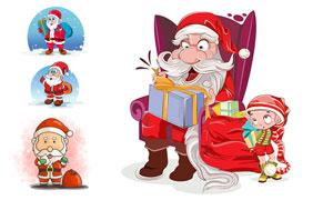 背着布袋的圣诞老人等卡通创意素材