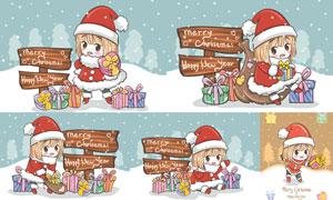 木牌与圣诞装扮小女孩插画矢量素材