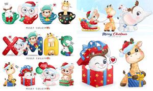 圣诞节主题卡通可爱小动物矢量素材