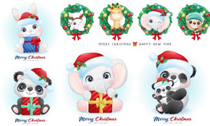 兔子与熊猫等圣诞卡通设计矢量素材