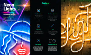 炫麗的霓虹發光字設計PS插件