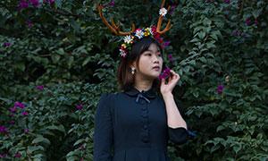 花卉植物前的美女人物寫真攝影原片