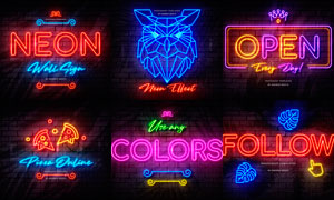 炫彩發光的霓虹燈文字設計PSD模板
