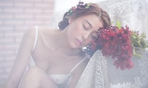 红色鲜花与内衣美女私房照摄影原片