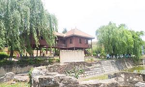 景区内的建筑物与景观绿化摄影原片