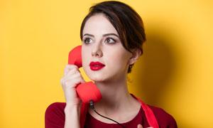 打电话的红唇浓妆美女摄影高清图片
