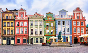 波兰城市波兹南的街景风光摄影图片
