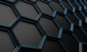 立体质感蓝黑效果的多边形高清图片