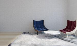 地毯上的茶幾與絨面沙發等攝影圖片
