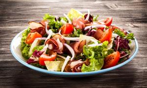 培根洋葱番茄低脂蔬菜沙拉摄影图片